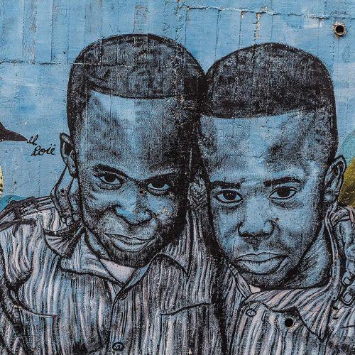Street art in Comuna 13 in Medellin Colombia