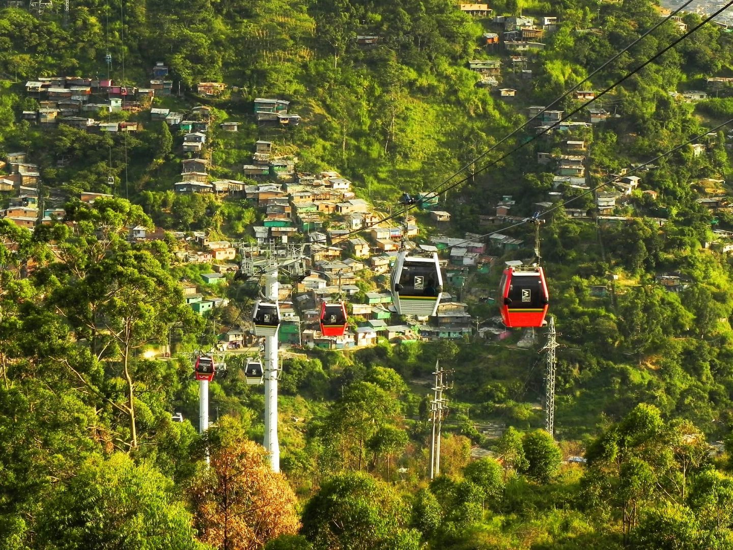 The cable cars in Medellin Colombia