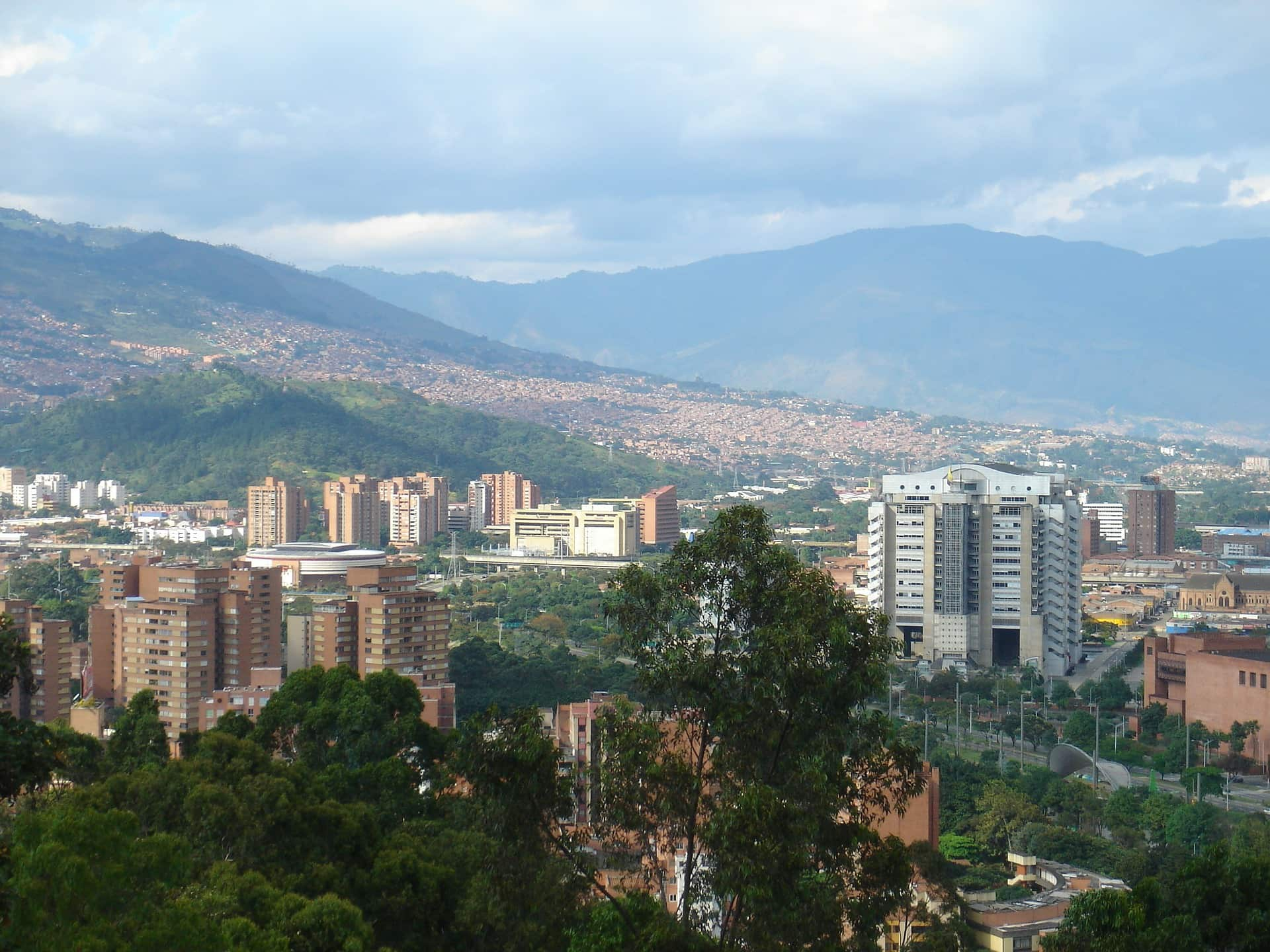 The city of Medellin in Colombia taken from above