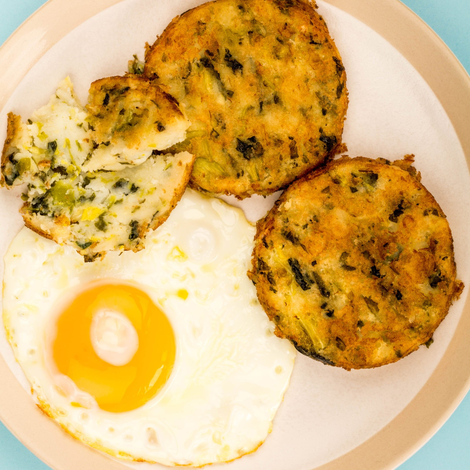London typical food Cooked Vegetarian Bubble And Squeak Cakes With A Fried Egg