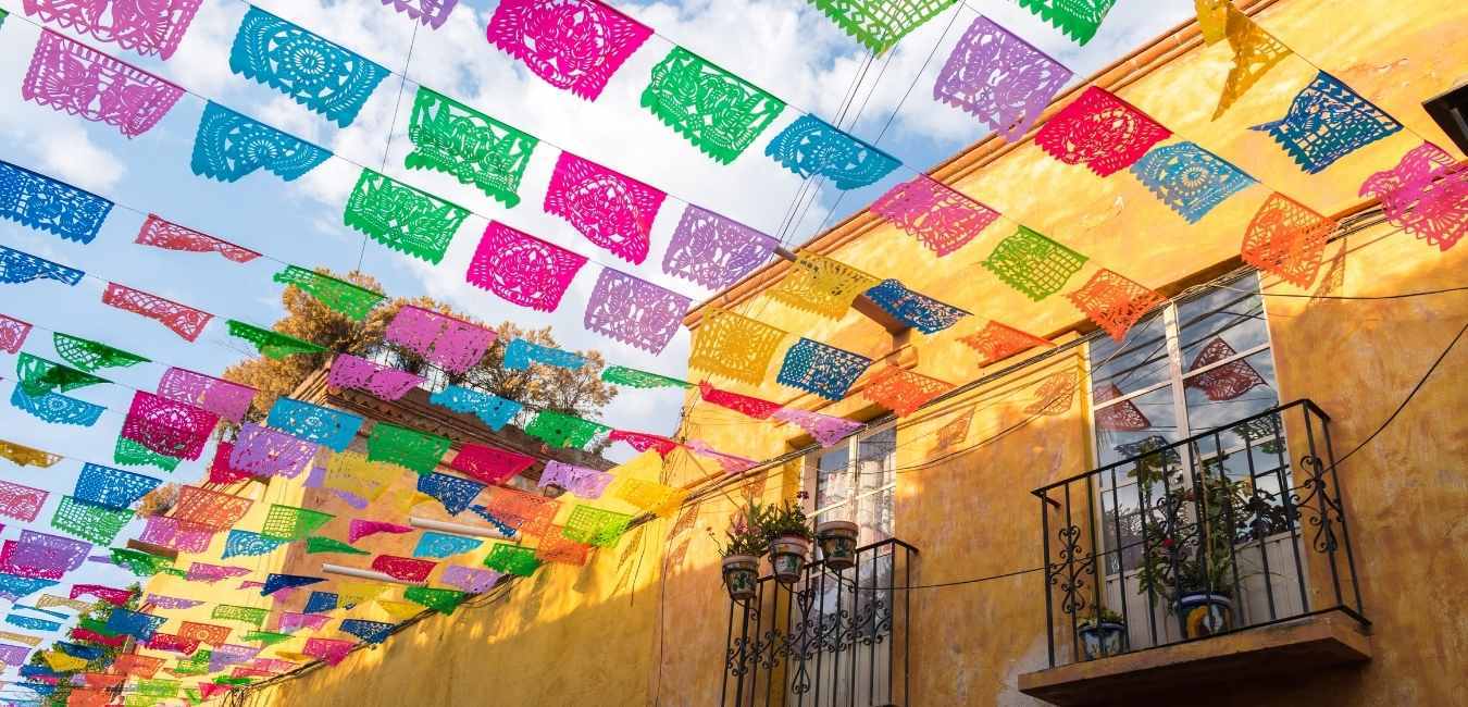 A colorful street in Mexico