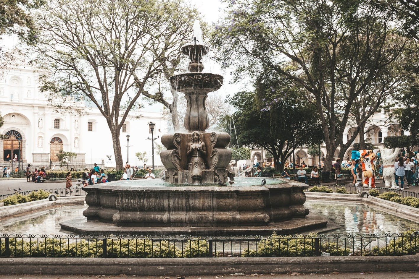 Central Square in antigua Guatemala with Cathedral at the Back