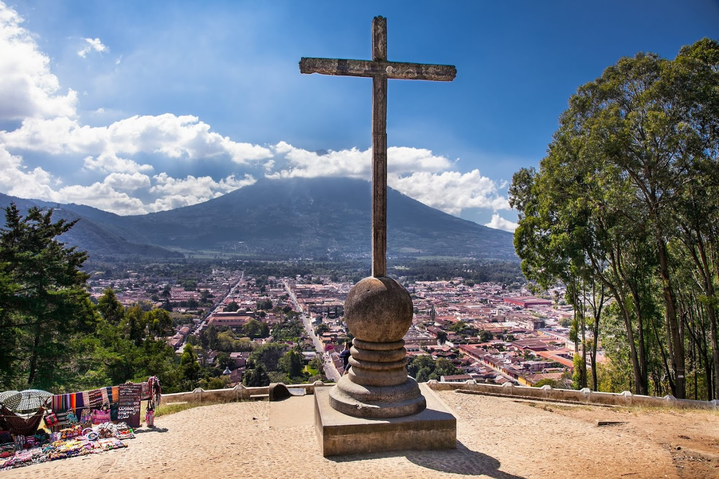 Hill of the Cross in Antigua Guatemala Overlooking the City with Agua Volcano at the Front